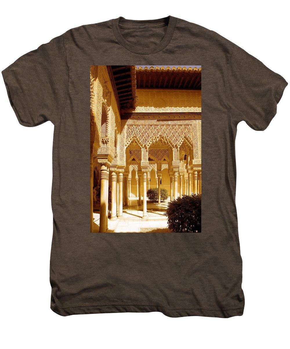 Moorish Men's Premium T-Shirt featuring the photograph Moorish Architecture In The Nasrid Palaces At The Alhambra Granada by Mal Bray