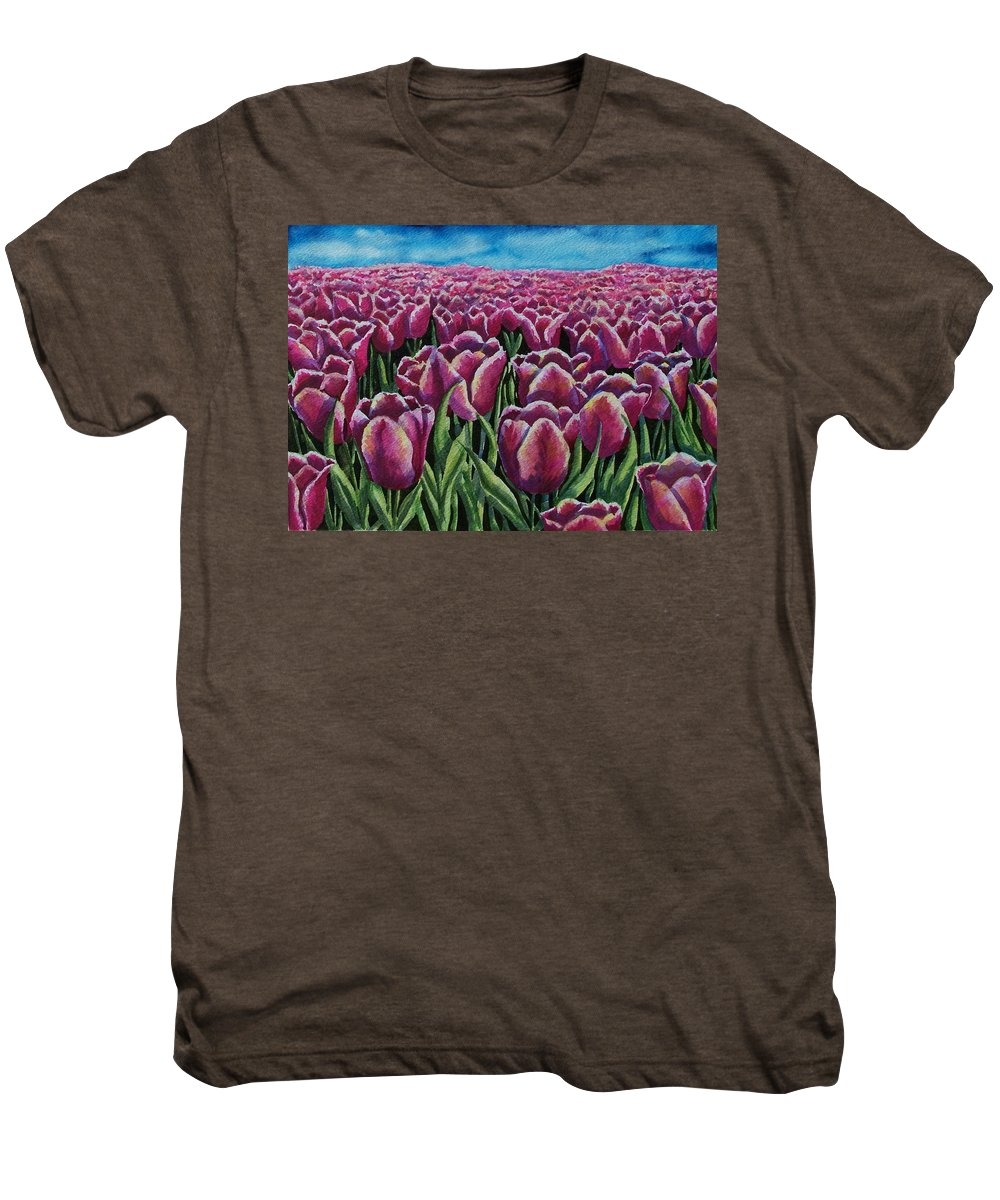 Tulips Men's Premium T-Shirt featuring the painting 1000 Tulpis by Conni Reinecke