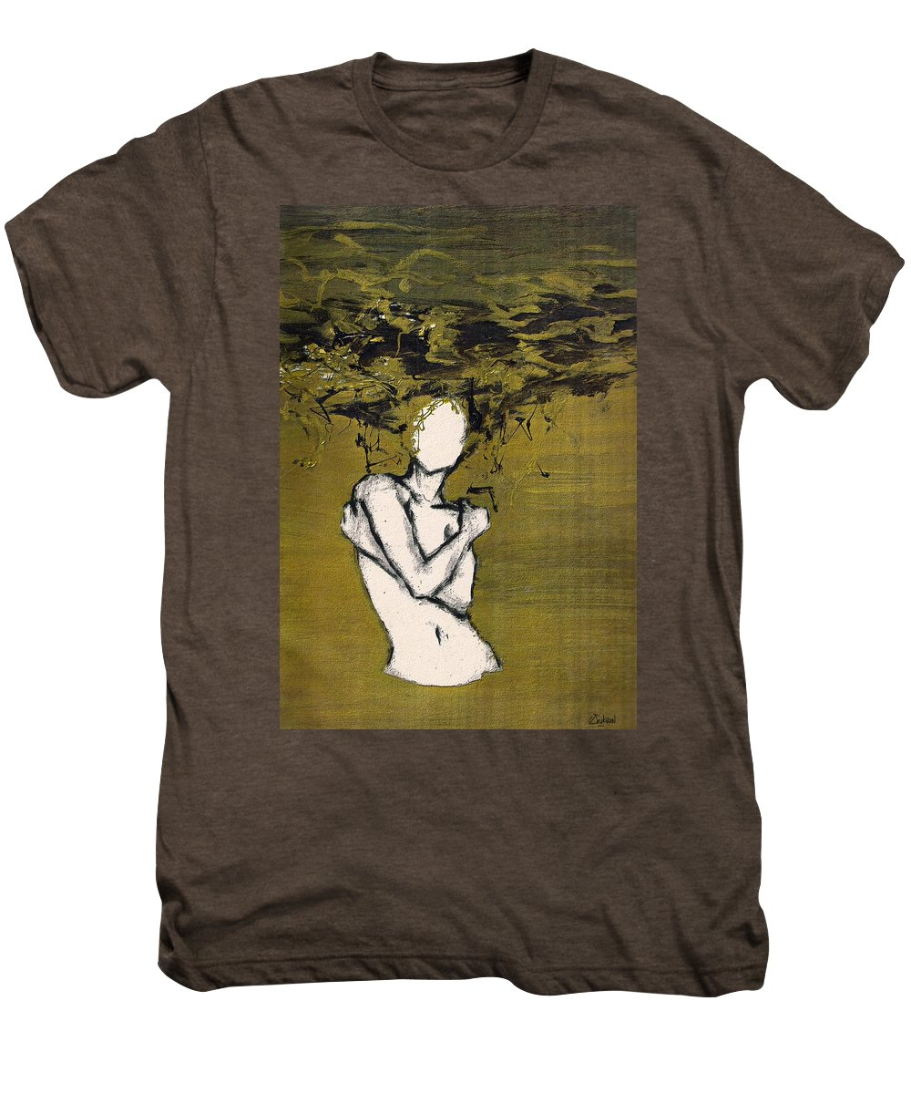 Gold Woman Hair Bath Nude Men's Premium T-Shirt featuring the mixed media Untitled by Veronica Jackson