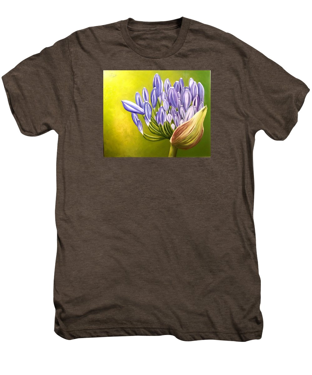 Flower Men's Premium T-Shirt featuring the painting Agapanthos by Natalia Tejera
