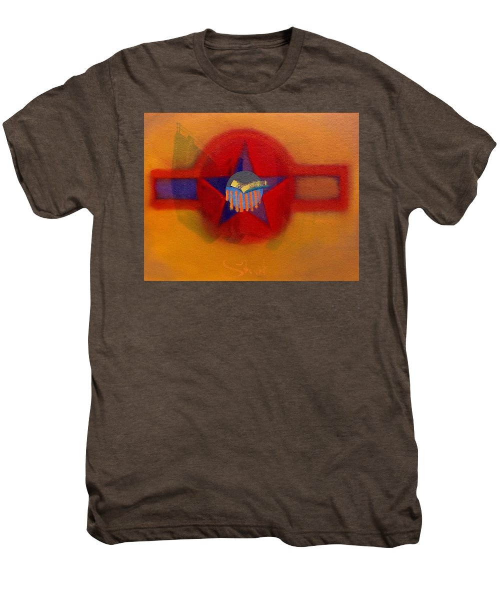 Usaaf Insignia And Idealised Landscape In Union Men's Premium T-Shirt featuring the painting American Sub Decal by Charles Stuart