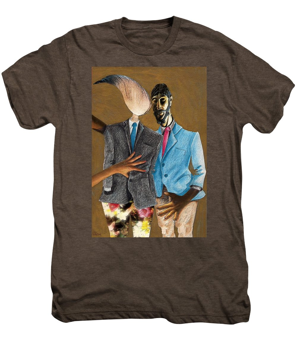 Sex Gay Androginality Couple Love Relation Men's Premium T-Shirt featuring the mixed media Androginality by Veronica Jackson