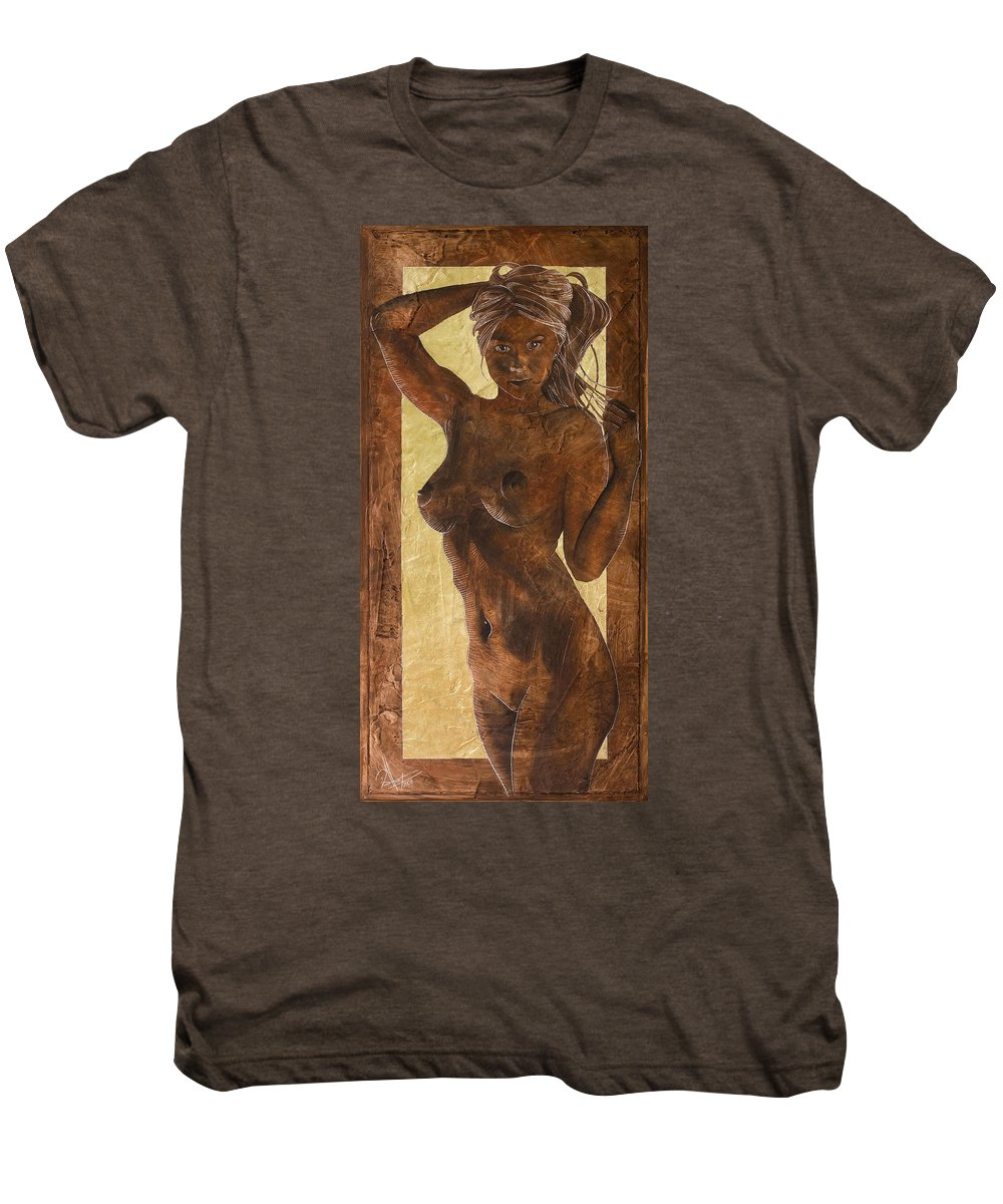 Nude Men's Premium T-Shirt featuring the painting Angel In Gold by Richard Hoedl
