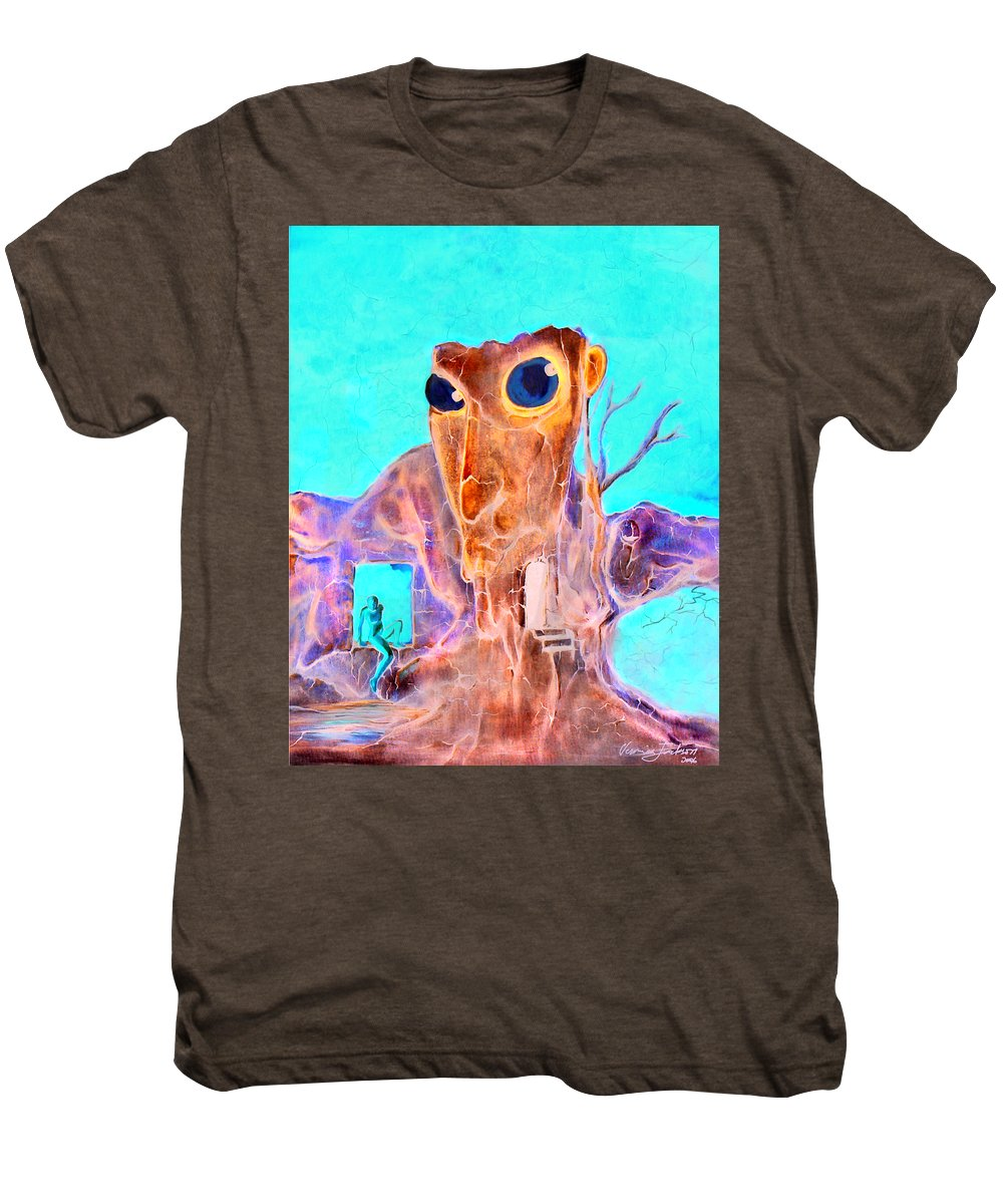 Surreal Color Eyes Structure Men's Premium T-Shirt featuring the painting Another Few Seconds In My Head by Veronica Jackson