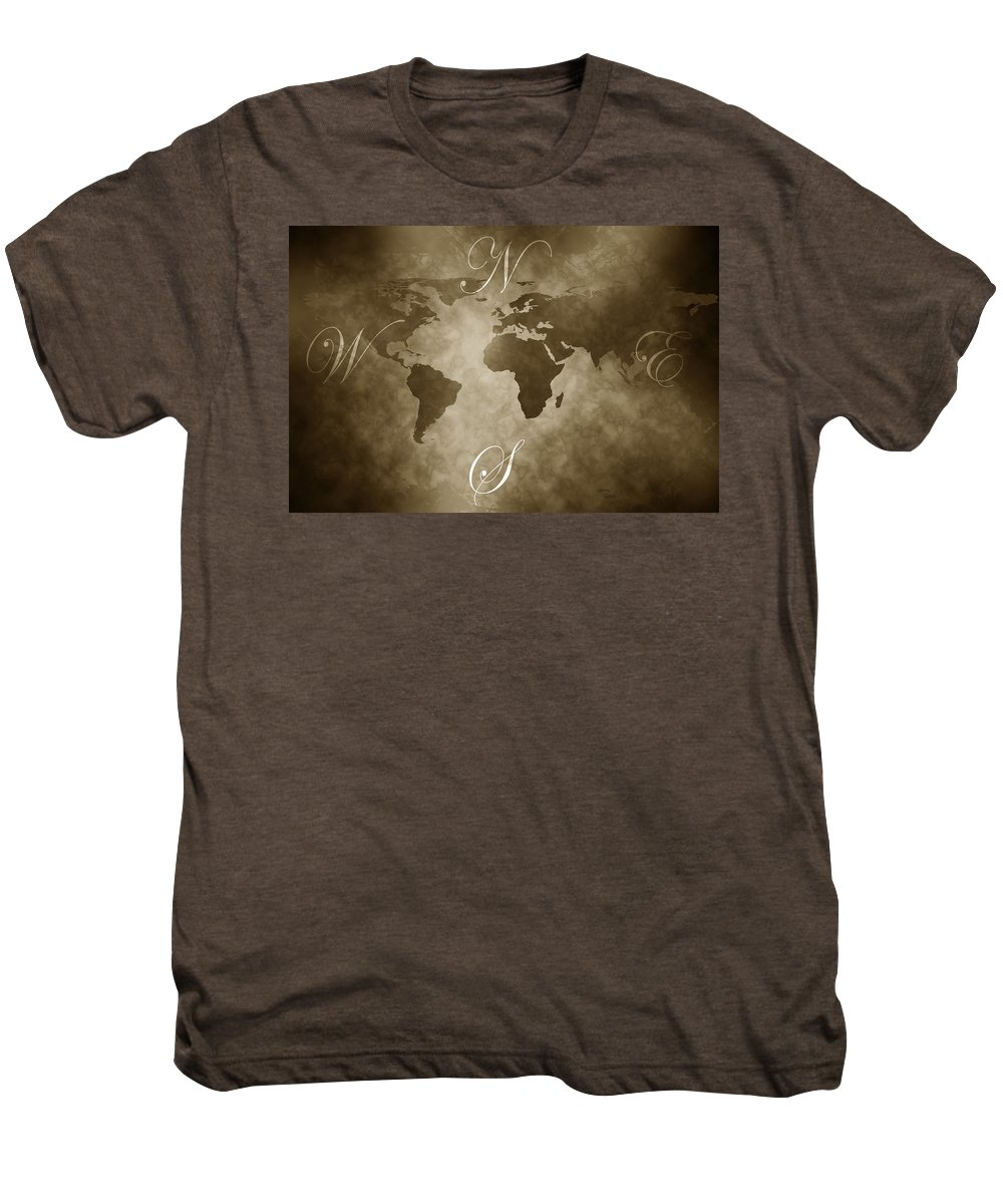 Compass Men's Premium T-Shirt featuring the digital art Antique World Map by Phill Petrovic