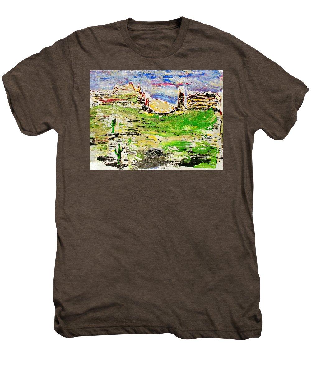 Cactus Men's Premium T-Shirt featuring the painting Arizona Skies by J R Seymour