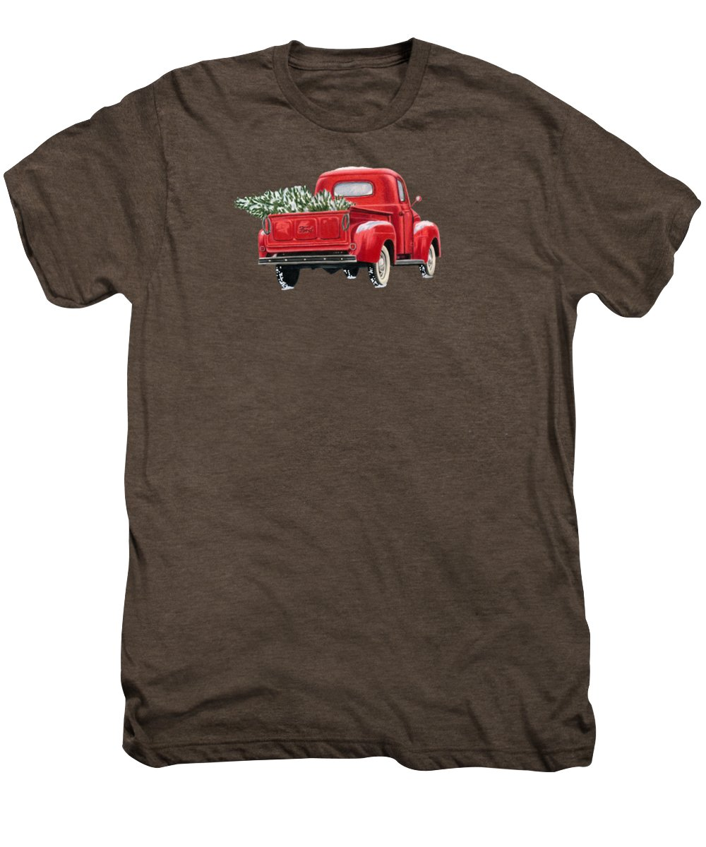 Christmas Truck Men's Premium T-Shirt featuring the painting The Road Home by Sarah Batalka