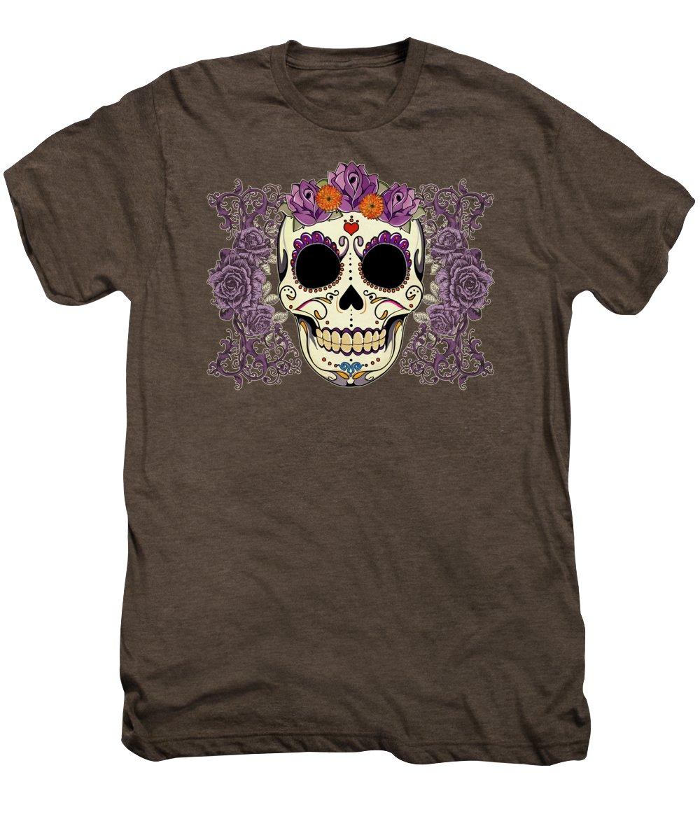 Sugar Skull Men's Premium T-Shirt featuring the digital art Vintage Sugar Skull And Roses by Tammy Wetzel