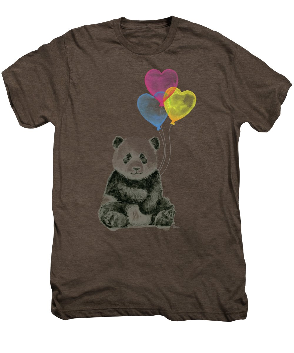 Baby Panda Men's Premium T-Shirt featuring the painting Baby Panda With Heart-shaped Balloons by Olga Shvartsur