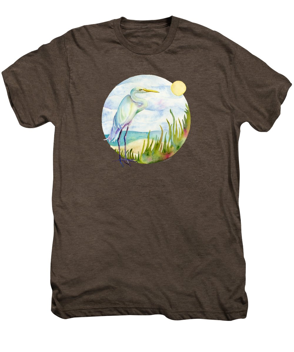 White Bird Men's Premium T-Shirt featuring the painting Beach Heron by Amy Kirkpatrick