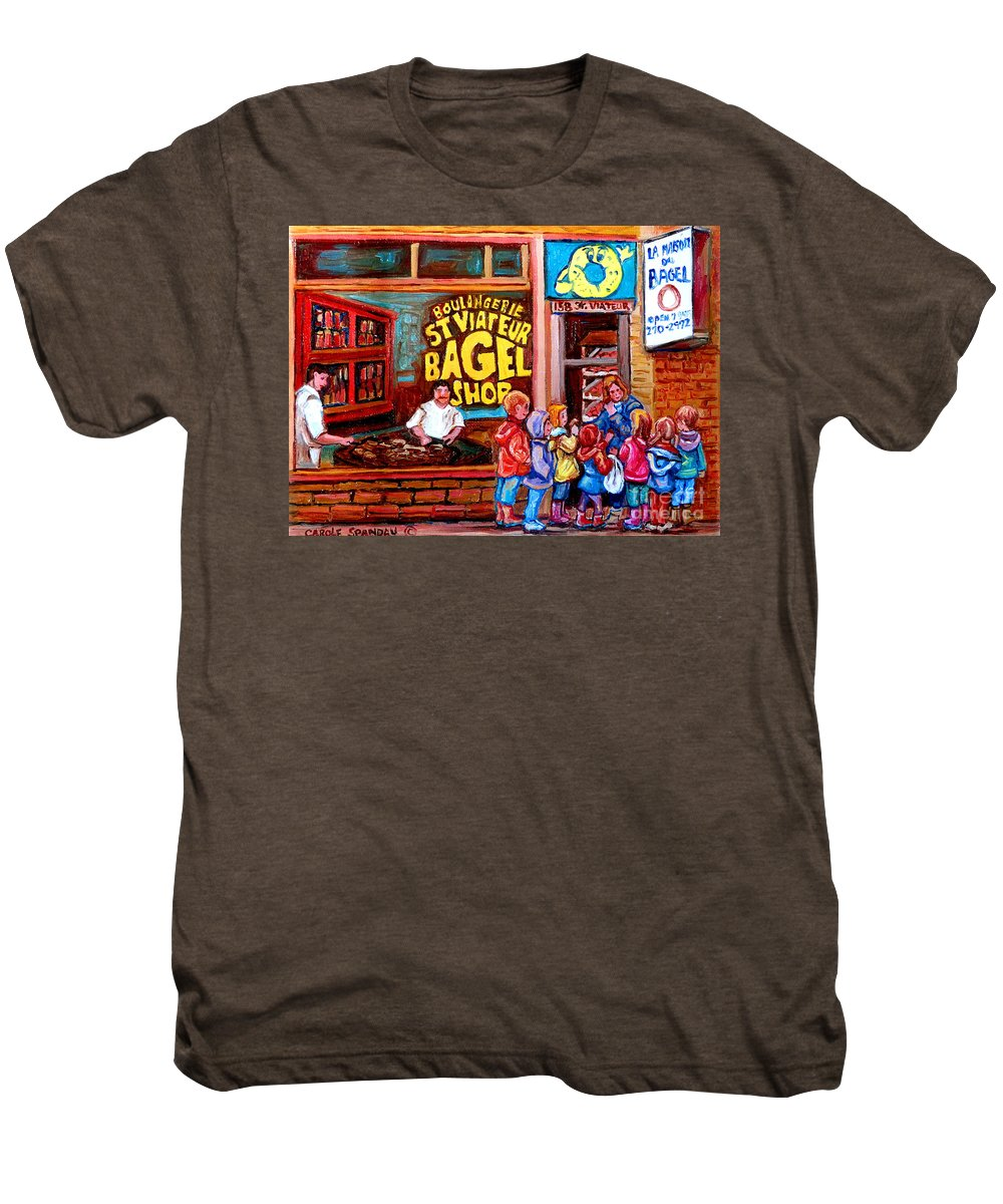 Children Men's Premium T-Shirt featuring the painting Bet You Cant Eat Just One by Carole Spandau