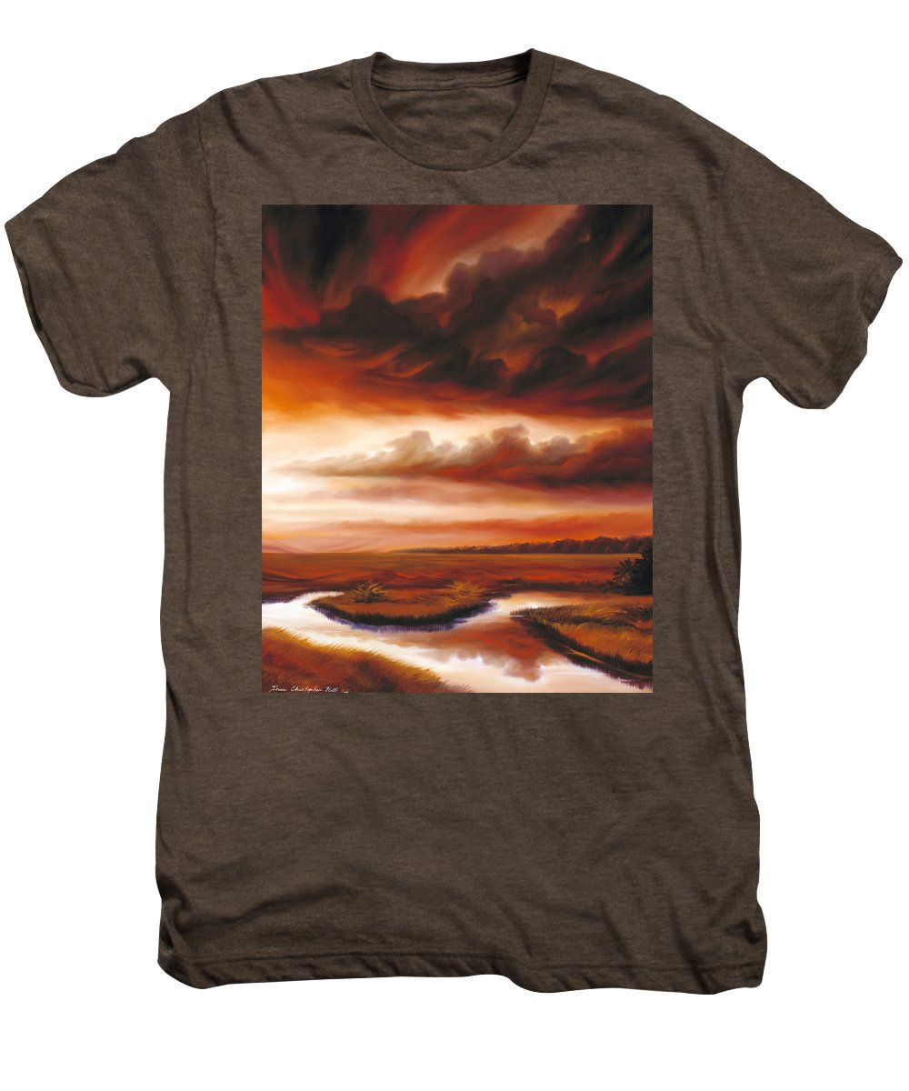 Contemporary Men's Premium T-Shirt featuring the painting Black Fire by James Christopher Hill