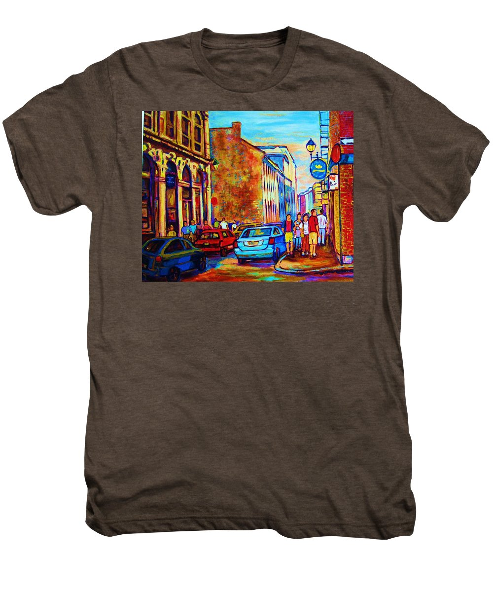 Montreal Men's Premium T-Shirt featuring the painting Blue Cars At The Resto Bar by Carole Spandau
