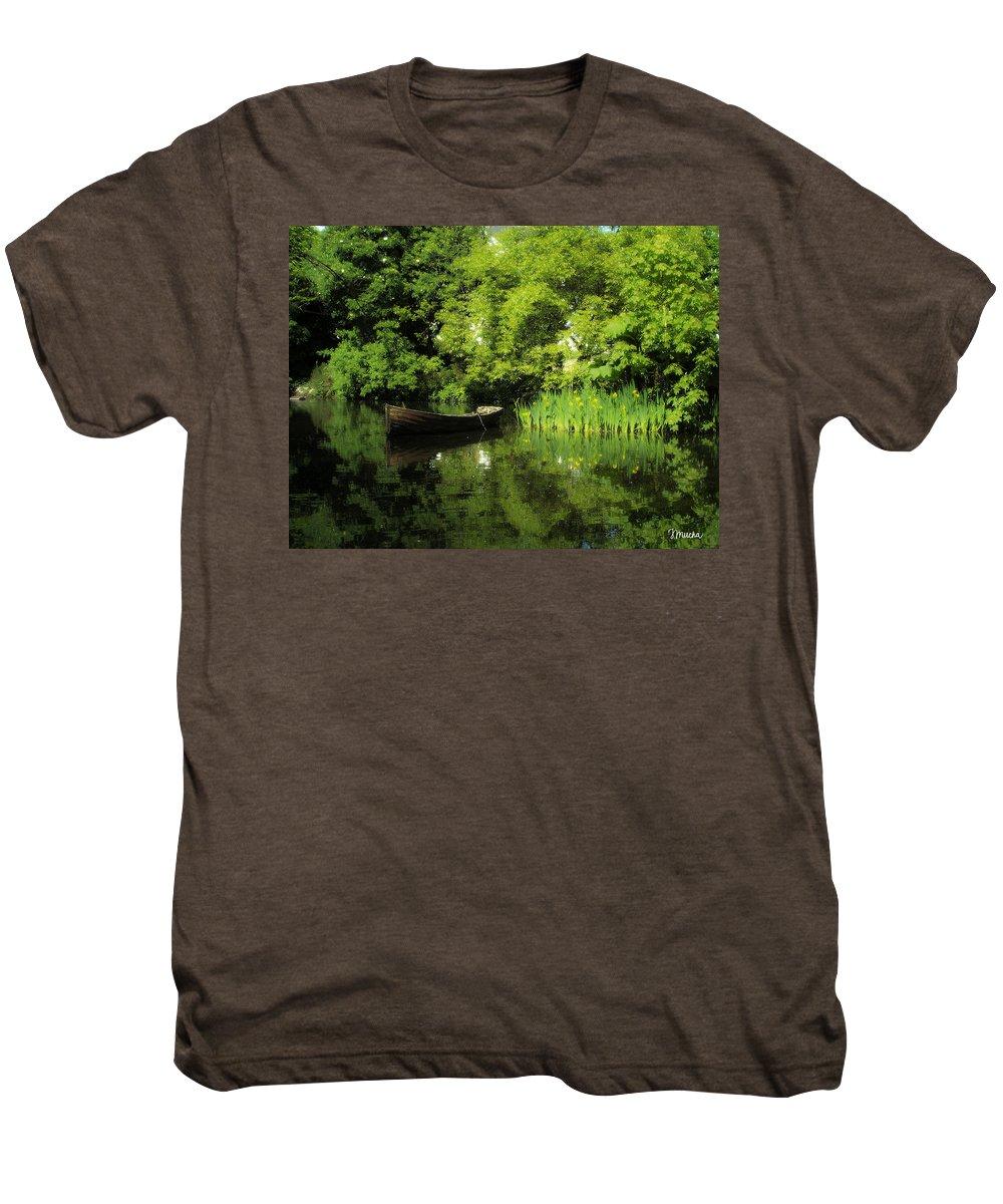 Irish Men's Premium T-Shirt featuring the digital art Boat Reflected On Water County Clare Ireland Painting by Teresa Mucha