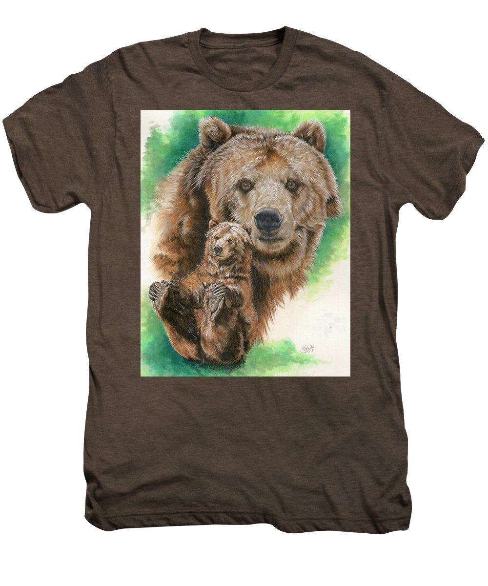 Bear Men's Premium T-Shirt featuring the mixed media Brawny by Barbara Keith