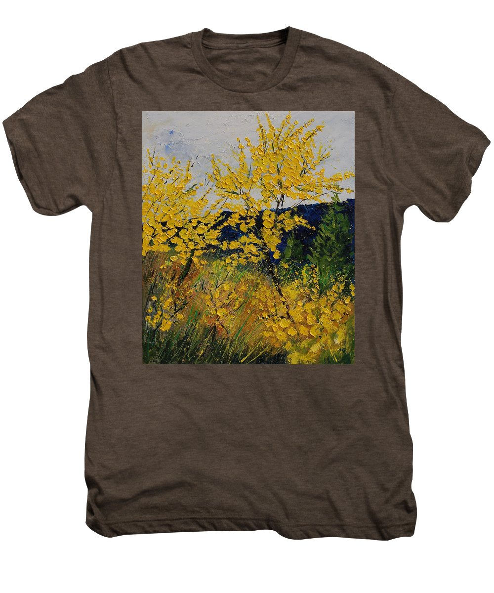 Flowers Men's Premium T-Shirt featuring the painting Brooms by Pol Ledent
