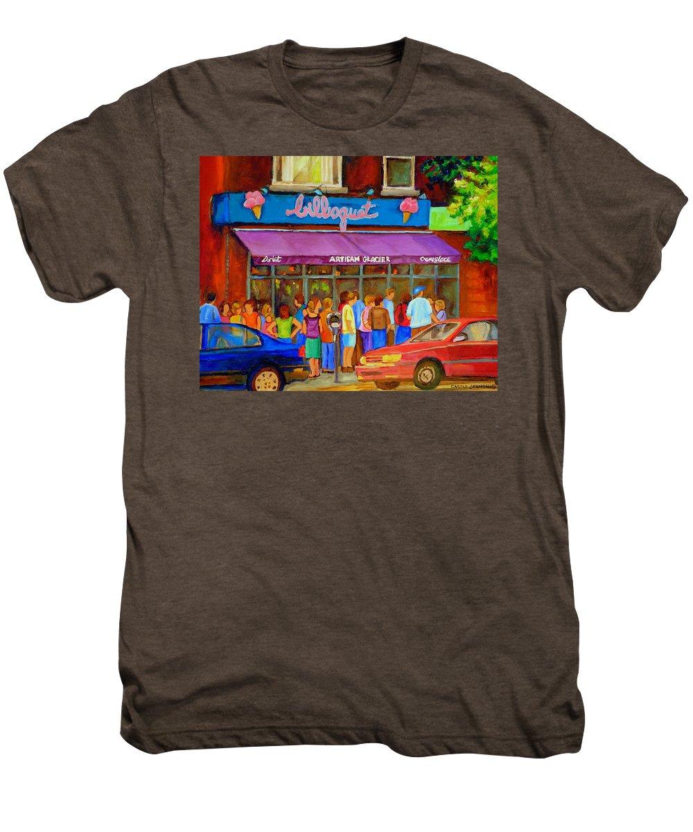 Cafe Bilboquet Men's Premium T-Shirt featuring the painting Cafe Bilboquet Ice Cream Delight by Carole Spandau