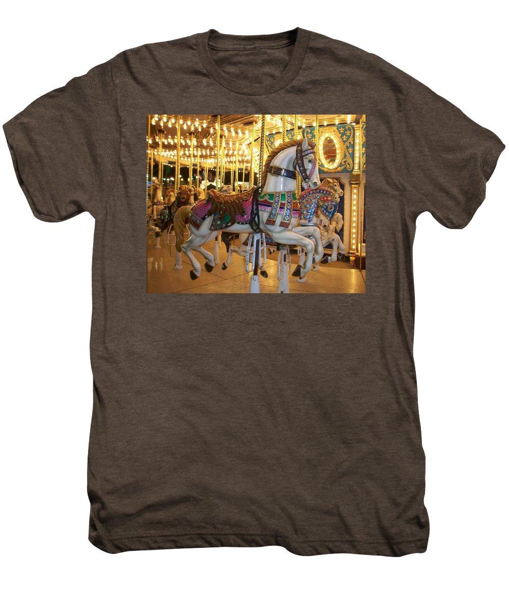 Carosel Horse Men's Premium T-Shirt featuring the photograph Carosel Horse by Anita Burgermeister