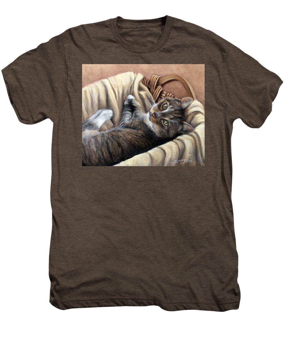 Animal Men's Premium T-Shirt featuring the pastel Cat In A Basket by Susan Jenkins
