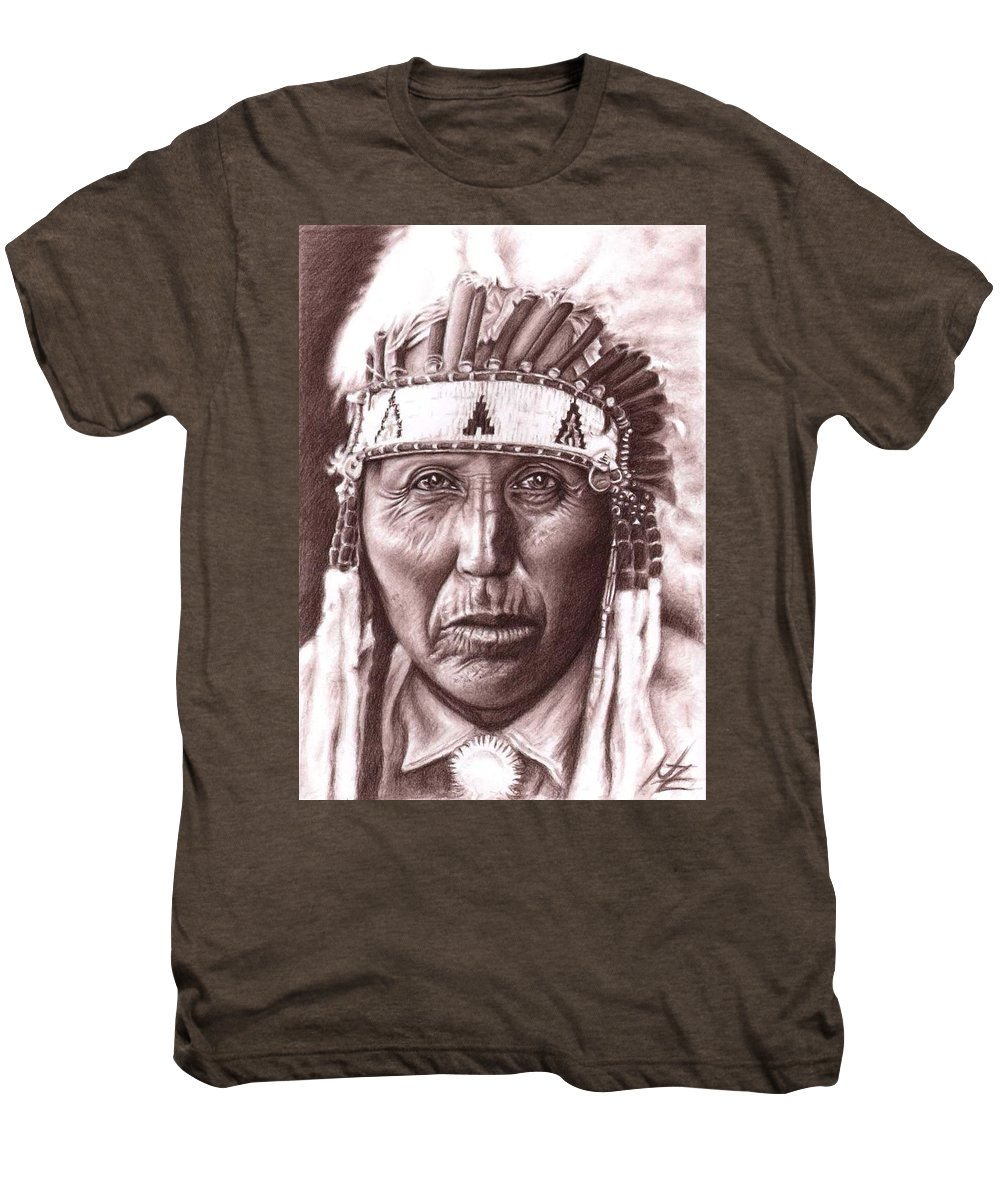 Indian Men's Premium T-Shirt featuring the drawing Cherokee by Nicole Zeug