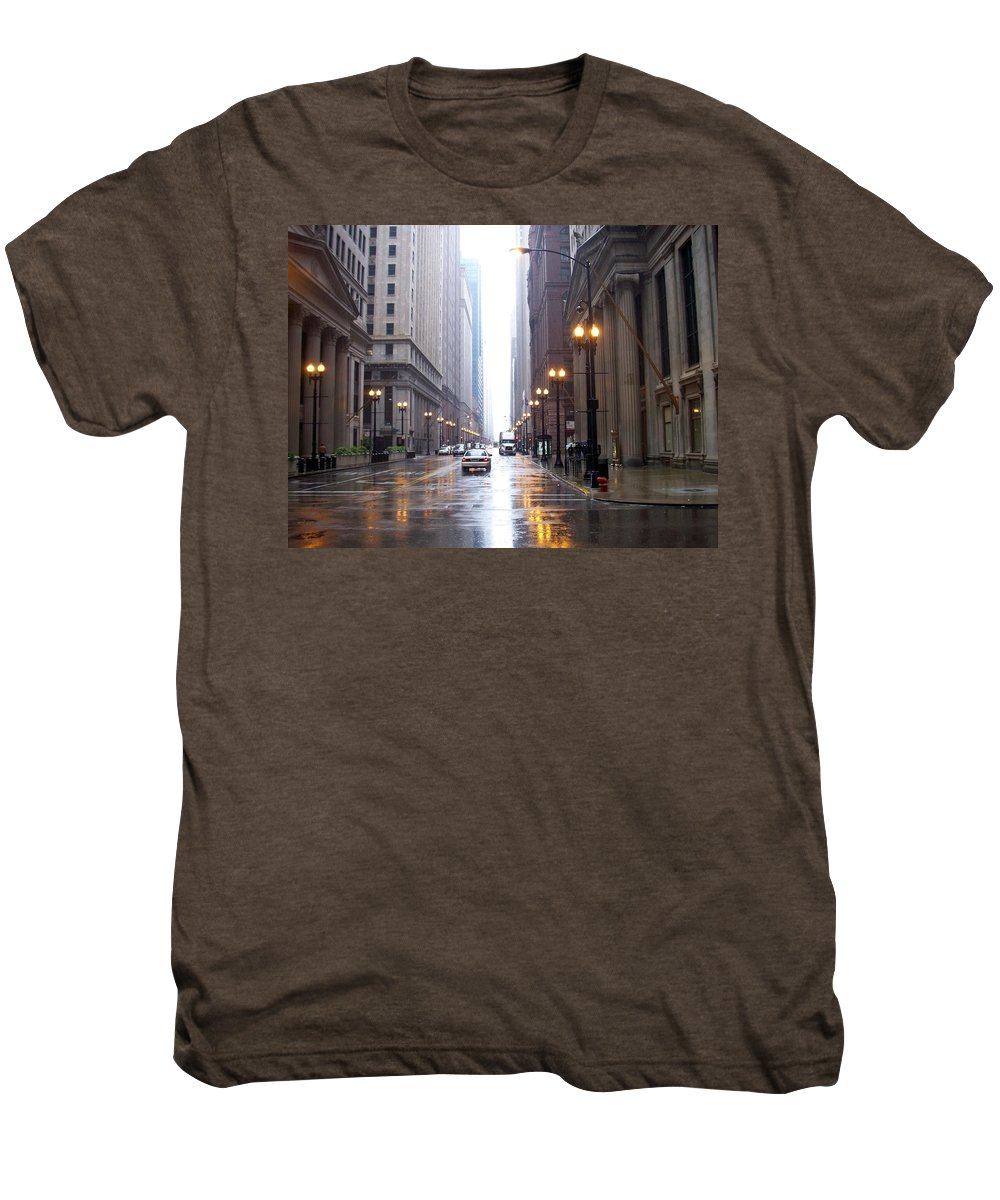Chicago Men's Premium T-Shirt featuring the photograph Chicago In The Rain by Anita Burgermeister