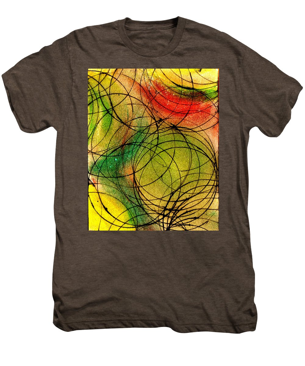 Abstract Men's Premium T-Shirt featuring the painting Circles by Wayne Potrafka