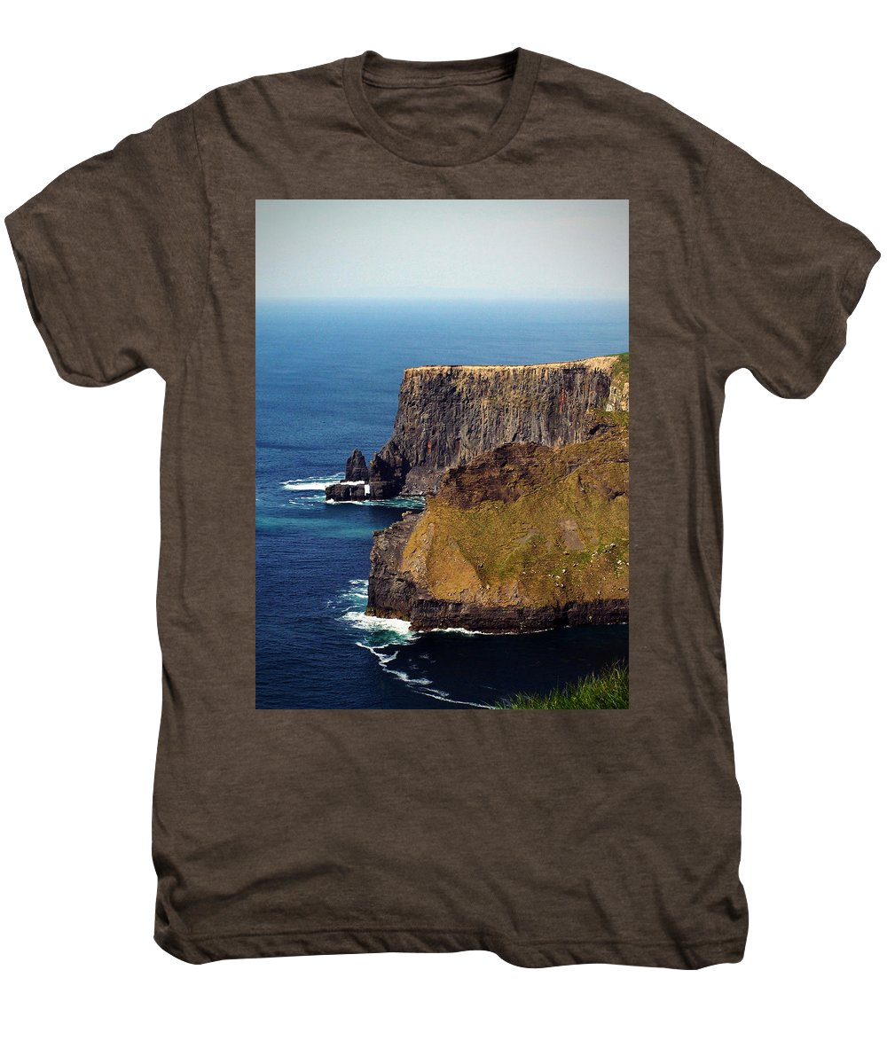 Irish Men's Premium T-Shirt featuring the photograph Cliffs Of Moher Ireland View Of Aill Na Searrach by Teresa Mucha