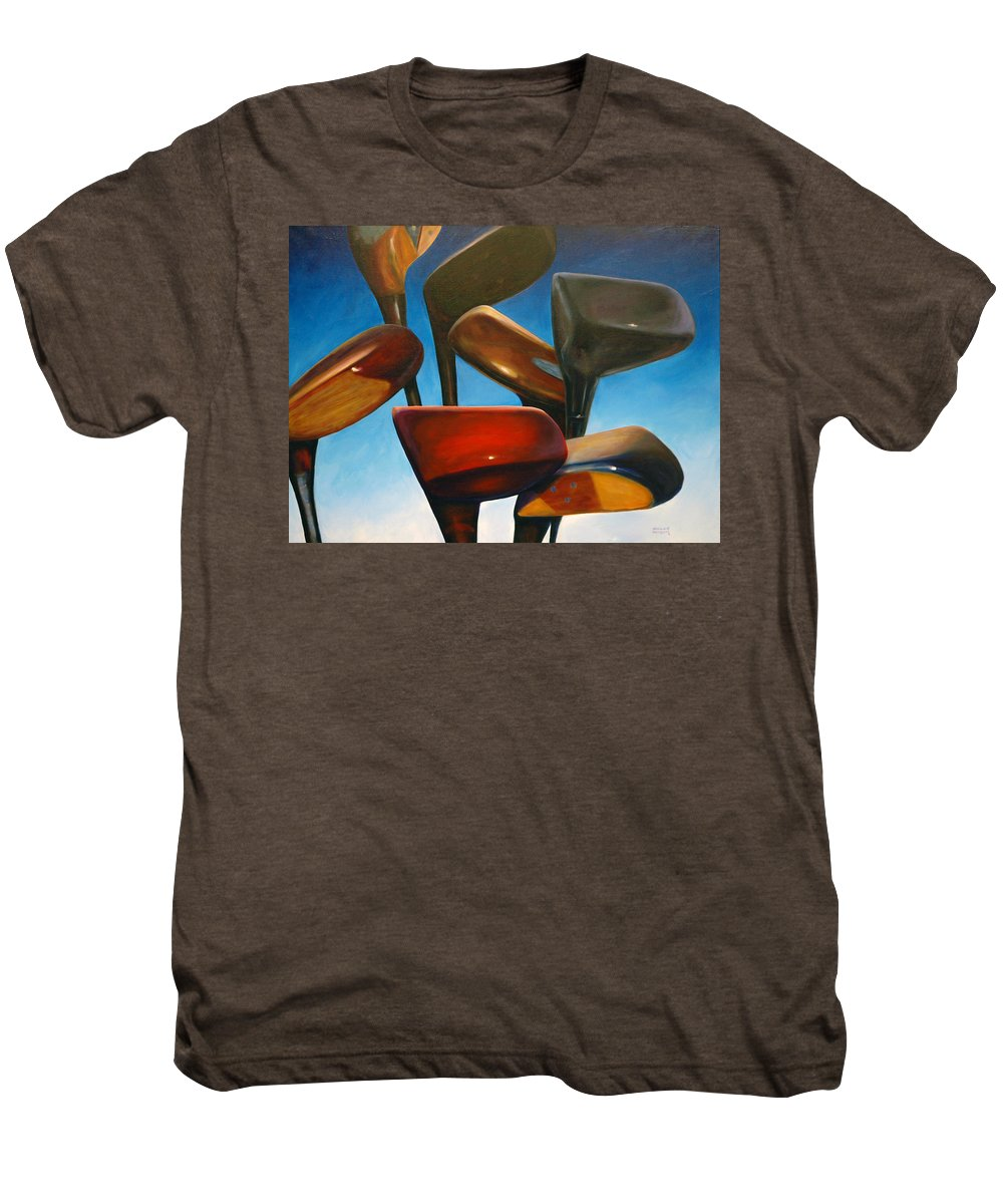Golf Clubs Brown Men's Premium T-Shirt featuring the painting Clubs Rising by Shannon Grissom