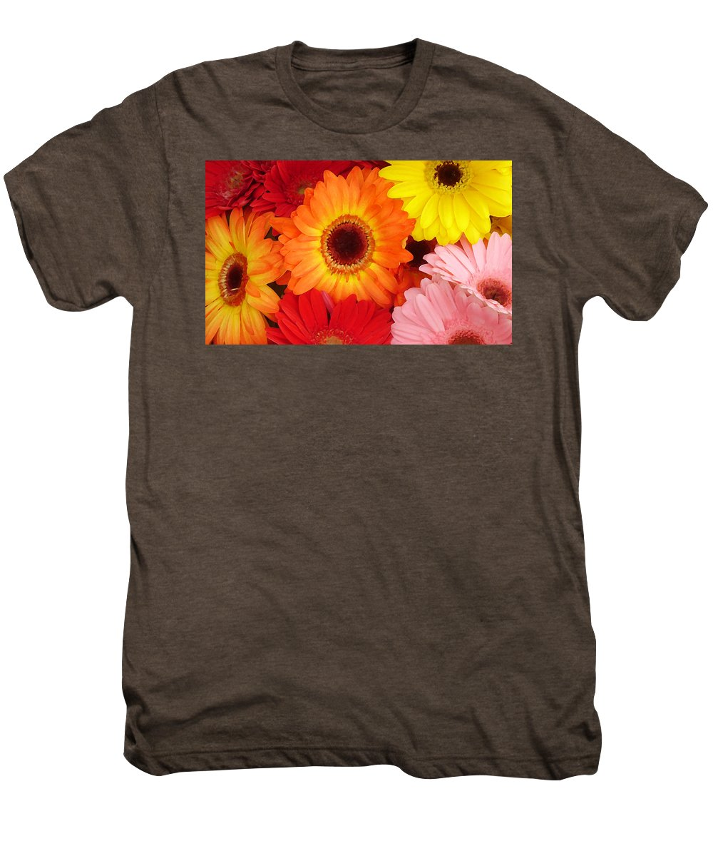 Gerber Daisy Men's Premium T-Shirt featuring the painting Colorful Gerber Daisies by Amy Vangsgard