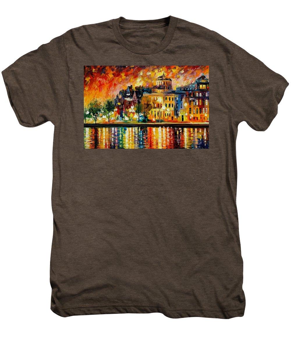 City Men's Premium T-Shirt featuring the painting Copenhagen Original Oil Painting by Leonid Afremov