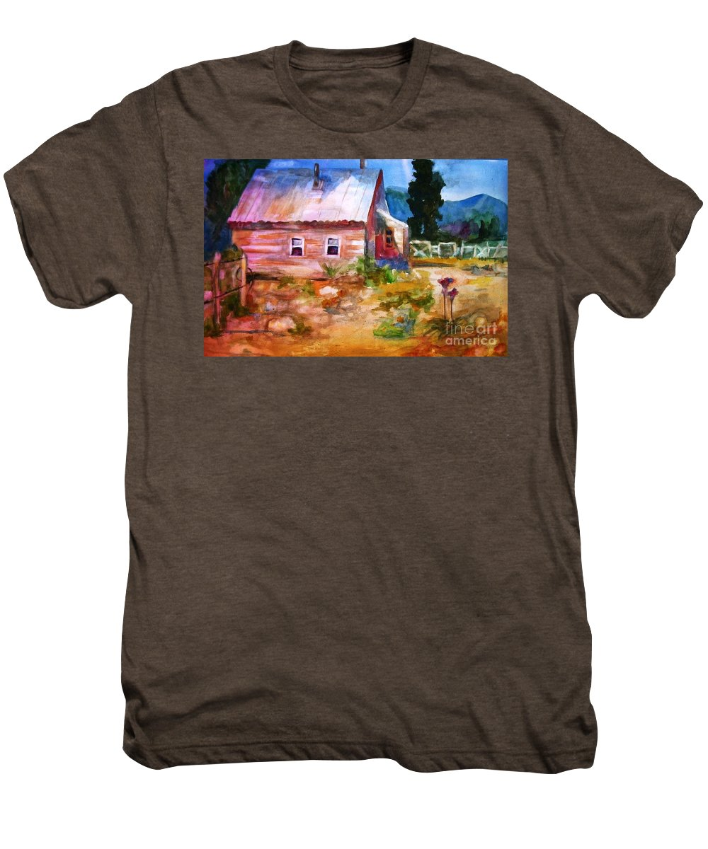 Cottage Men's Premium T-Shirt featuring the painting Country House by Frances Marino
