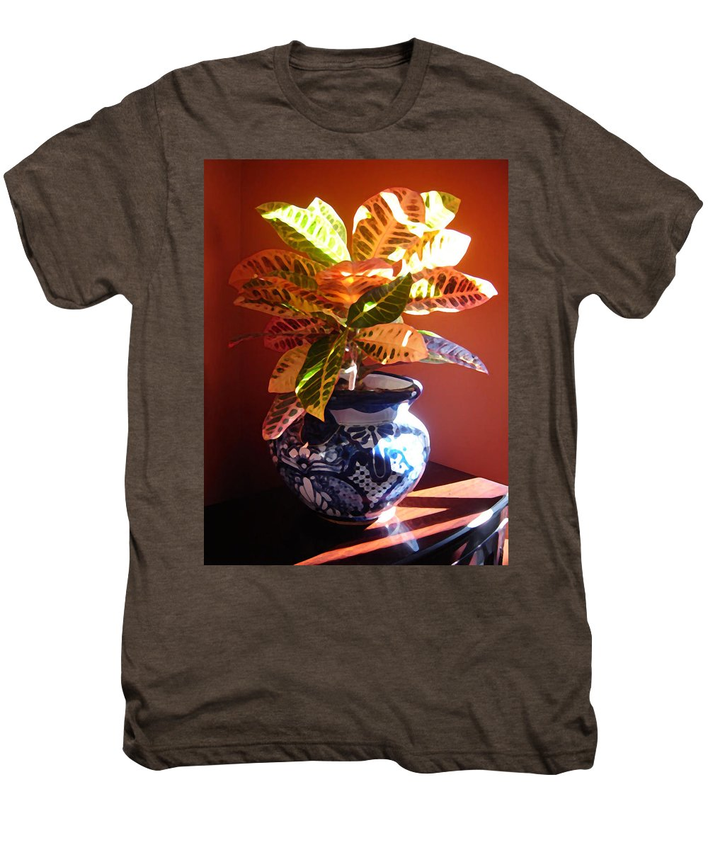 Potted Plant Men's Premium T-Shirt featuring the photograph Croton In Talavera Pot by Amy Vangsgard