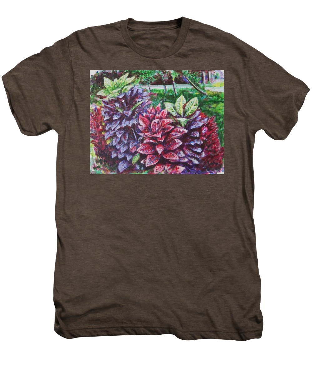 Landscape Men's Premium T-Shirt featuring the painting Crotons 1 by Usha Shantharam