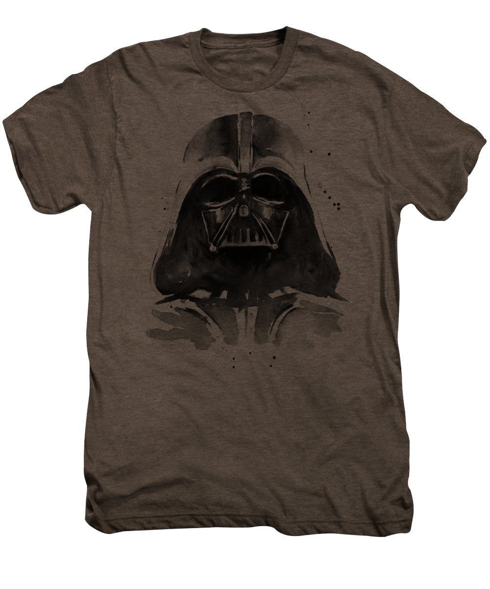 Watercolor Men's Premium T-Shirt featuring the painting Darth Vader Watercolor by Olga Shvartsur