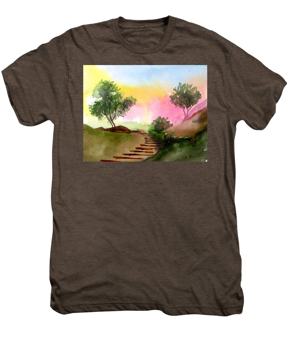 Landscape Men's Premium T-Shirt featuring the painting Dawn by Anil Nene