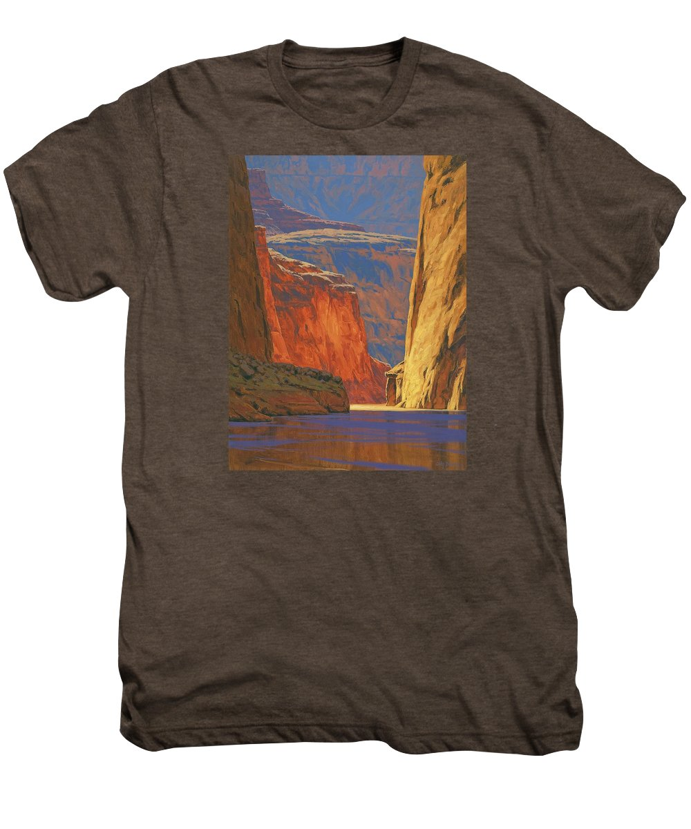 Grand Canyon Men's Premium T-Shirt featuring the painting Deep In The Canyon by Cody DeLong