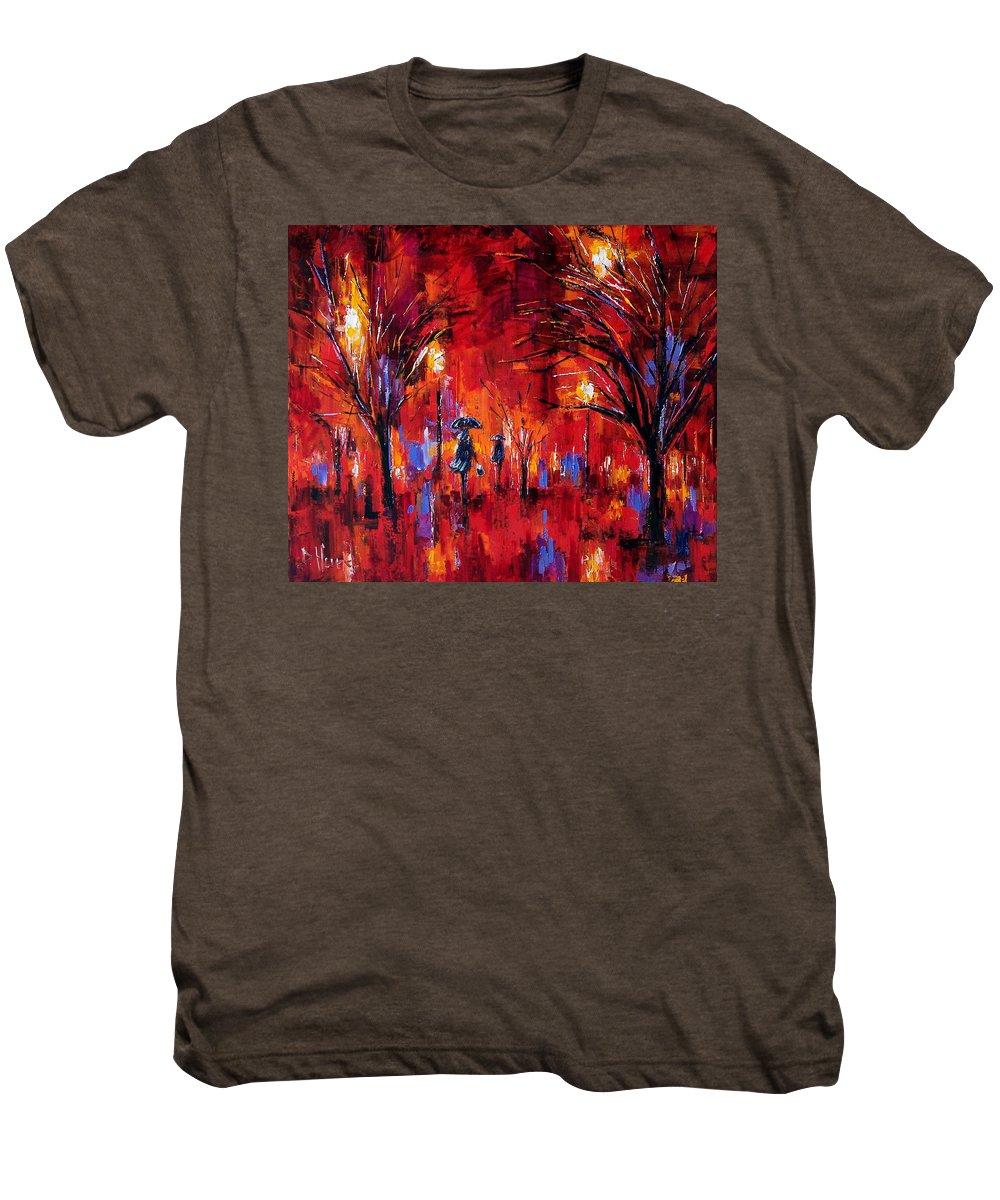 Umbrellas Men's Premium T-Shirt featuring the painting Deep Red by Debra Hurd