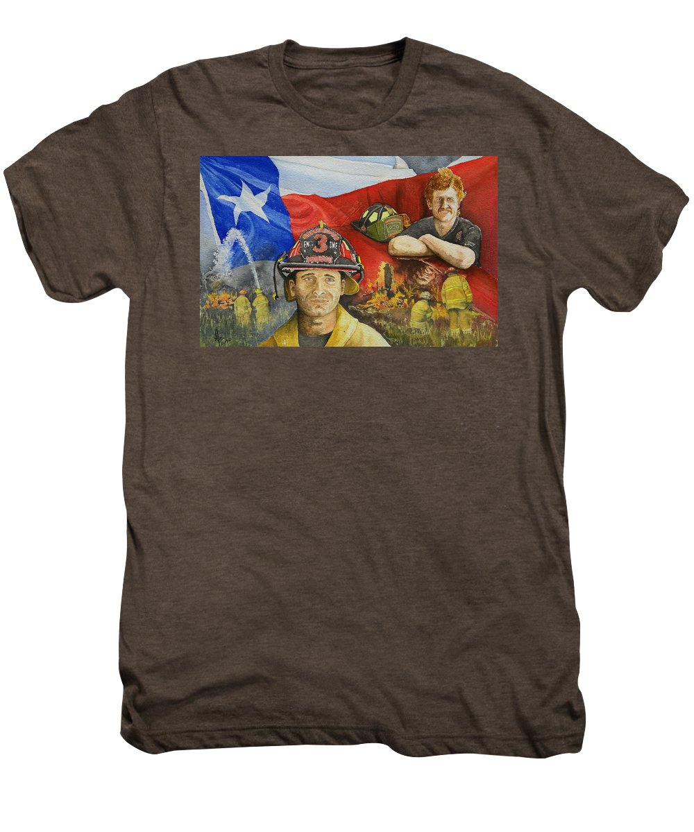Firemen Men's Premium T-Shirt featuring the painting Defending Texas by Gale Cochran-Smith