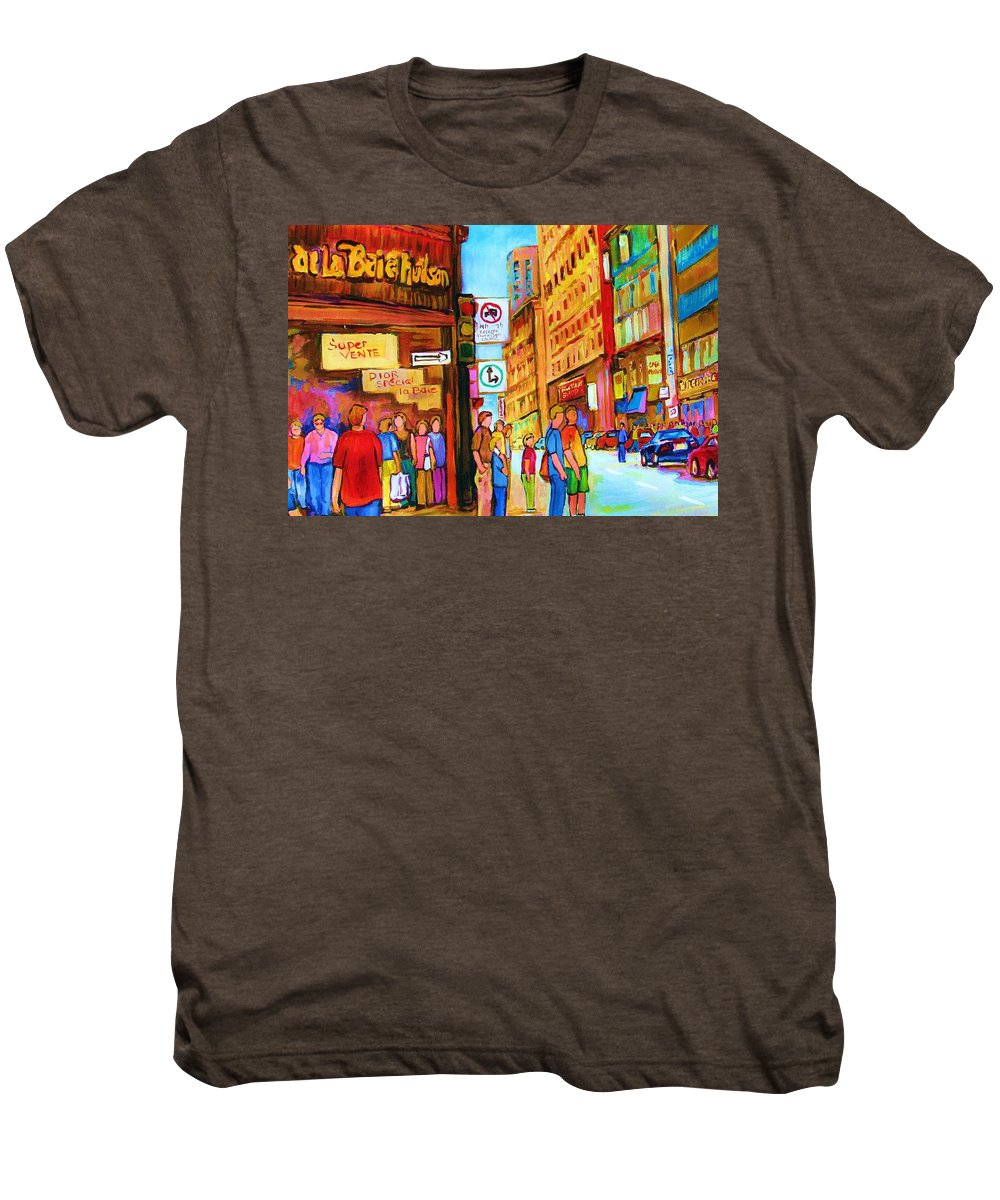 Cityscape Men's Premium T-Shirt featuring the painting Downtown by Carole Spandau