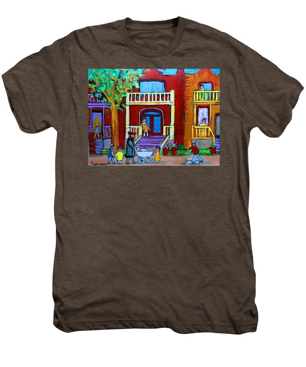 Judaica Men's Premium T-Shirt featuring the painting Durocher Street Montreal by Carole Spandau