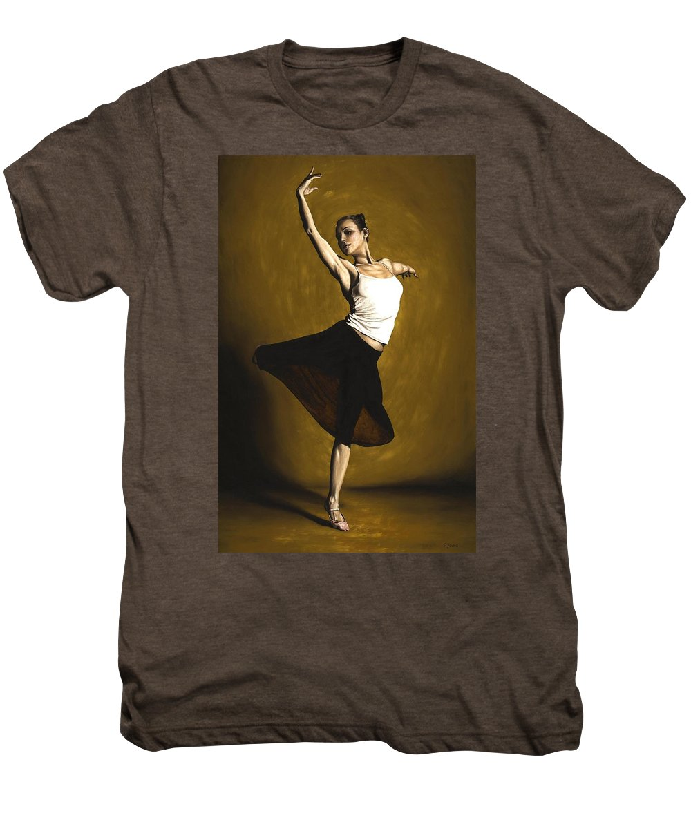 Elegant Men's Premium T-Shirt featuring the painting Elegant Dancer by Richard Young