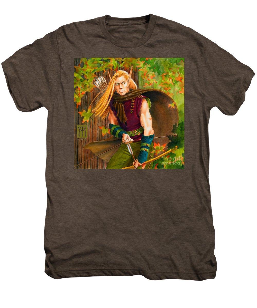 Elf Men's Premium T-Shirt featuring the painting Elven Hunter by Melissa A Benson
