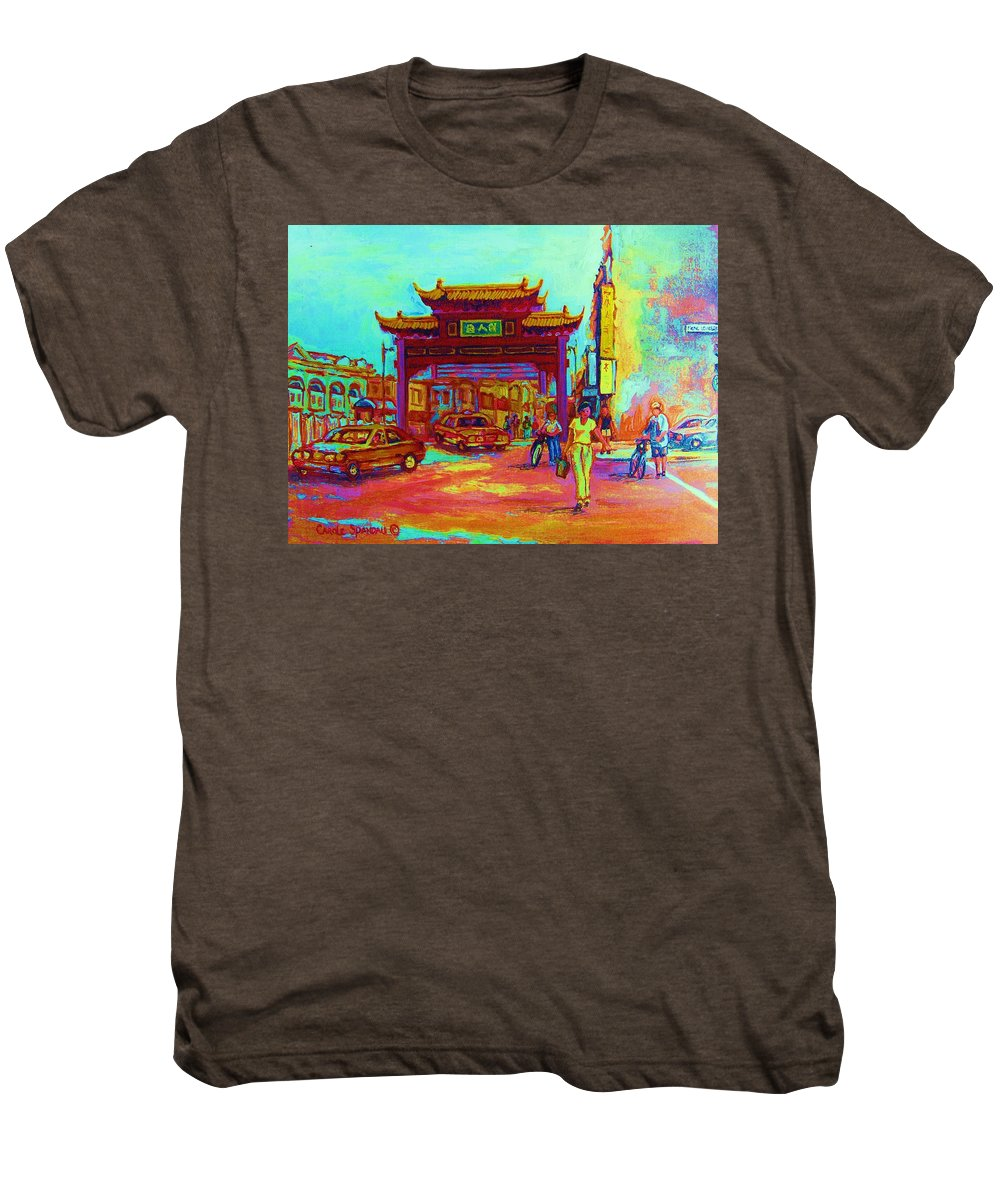 Montreal Men's Premium T-Shirt featuring the painting Entrance To Chinatown by Carole Spandau