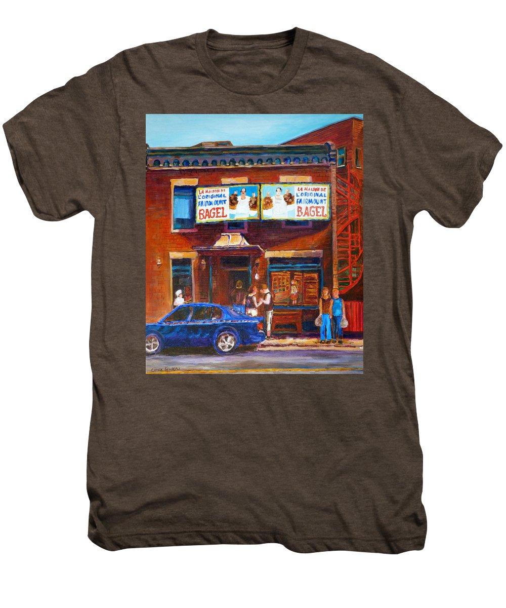 Fairmount Bagel Men's Premium T-Shirt featuring the painting Fairmount Bagel With Blue Car by Carole Spandau