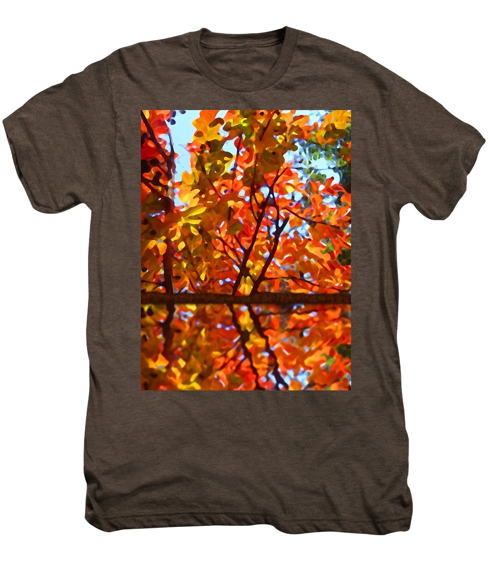 Trees Men's Premium T-Shirt featuring the painting Fall Reflextion by Amy Vangsgard