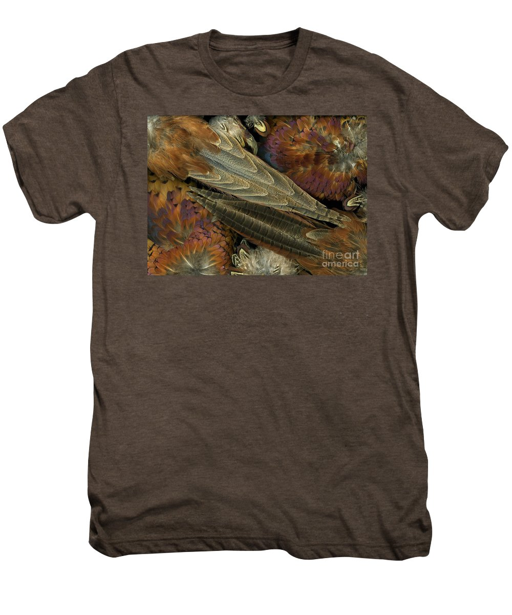 Pheasant Men's Premium T-Shirt featuring the photograph Featherdance by Christian Slanec