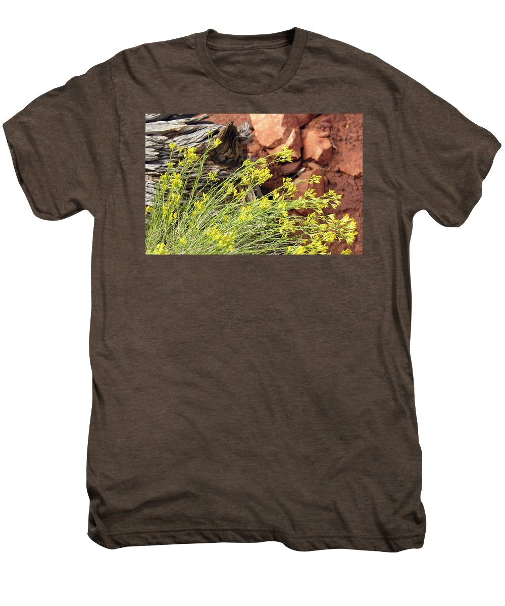 Flower Men's Premium T-Shirt featuring the photograph Flower Wood And Rock by Marilyn Hunt