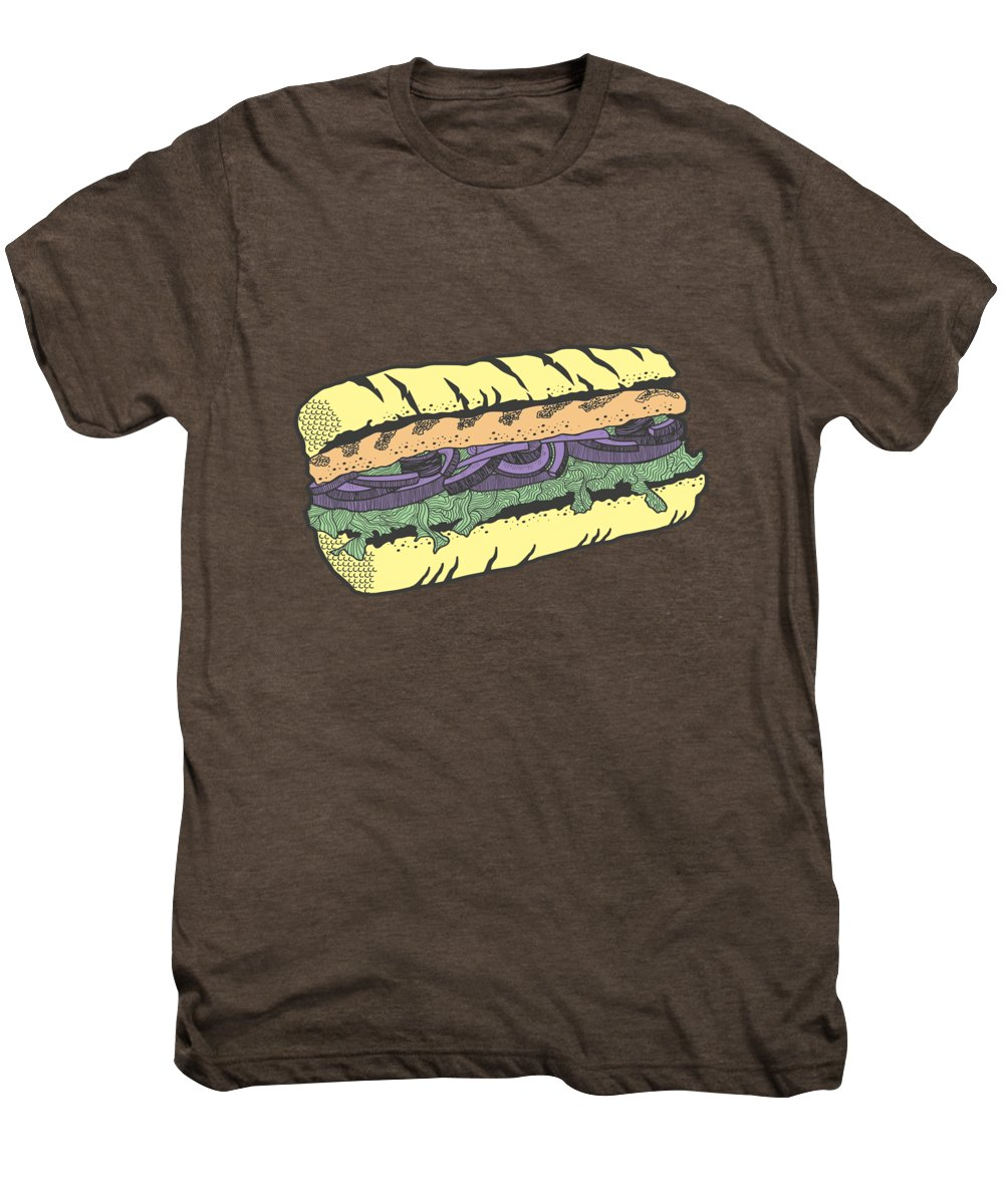 Sandwich Men's Premium T-Shirt featuring the drawing Food Masquerade by Freshinkstain