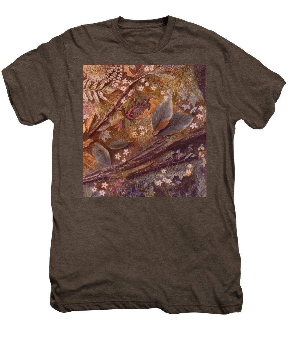 Leaves; Forest; Flowers Men's Premium T-Shirt featuring the painting Forest Floor by Ben Kiger