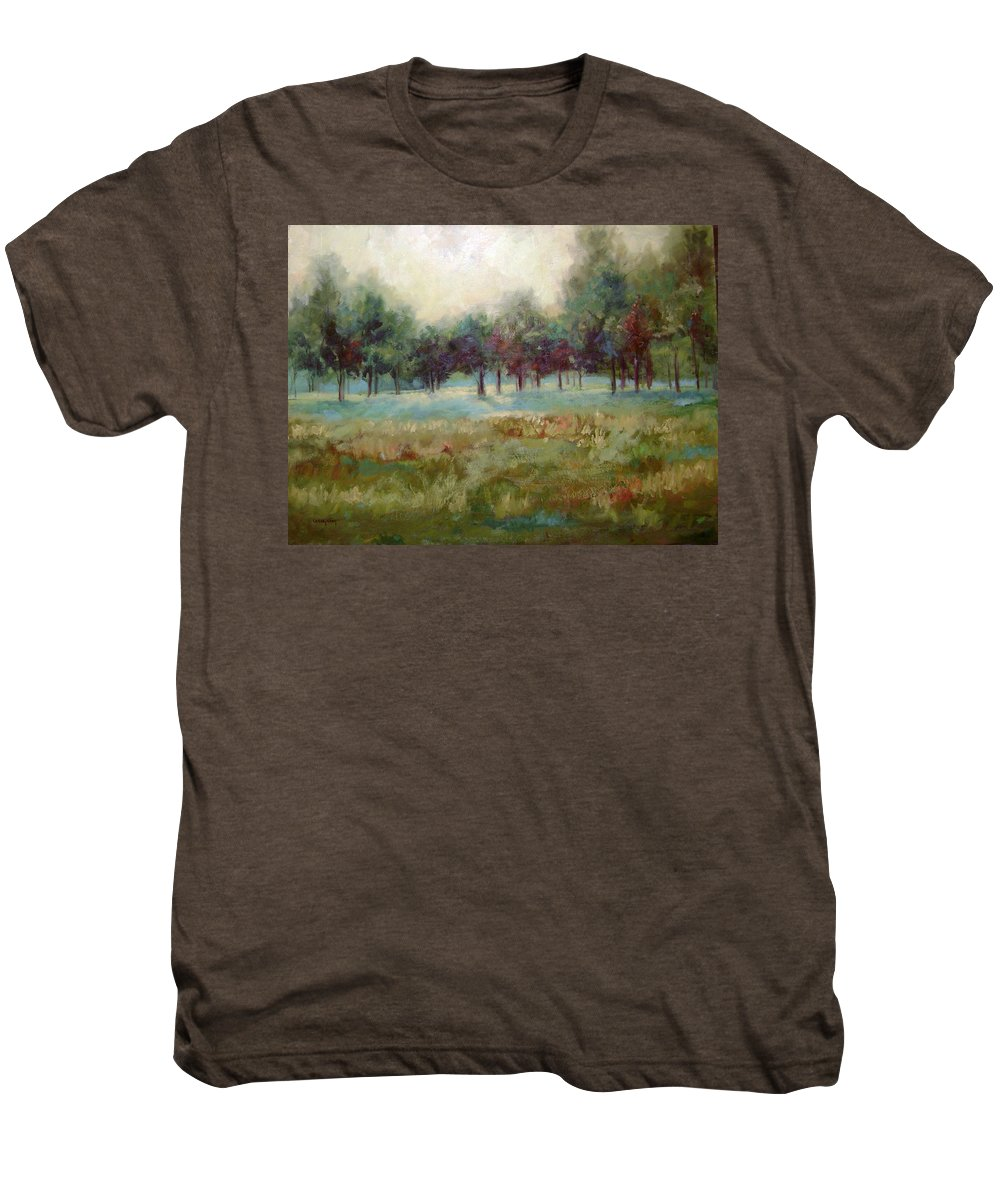 Country Scenes Men's Premium T-Shirt featuring the painting From The Other Side by Ginger Concepcion